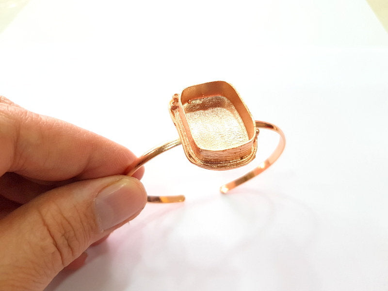 Rose Gold Bracelet Blanks Bangle Blanks Cuff Blanks Adjustable Bracelet Blank Rose Gold Plated Brass (25x18mm Blanks ) G12785