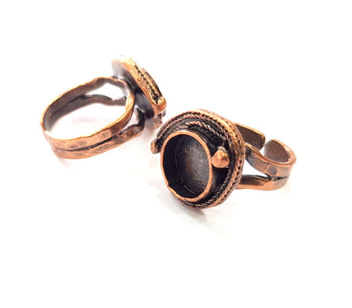 Copper Ring Settings inlay Ring Blank Mosaic Ring Bezel Base Cabochon Mountings ( 10 mm blank) Antique Copper Plated Brass G13322