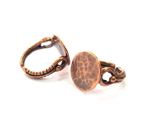 Copper Ring Blank Settings Ring Bezel Base Cabochon Mountings ( 15 mm blank) Antique Copper Plated Brass G13429