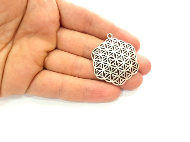 2 Silver Mandala Pendant Antique Silver Plated Metal (37mm) G13531