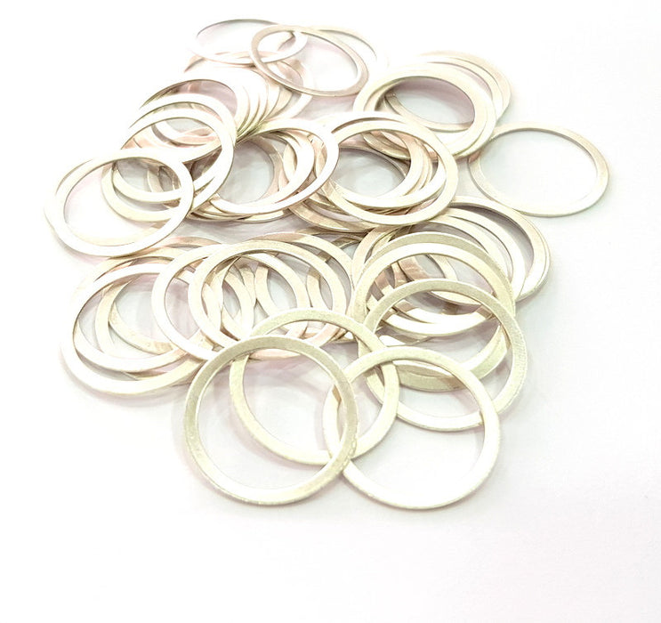 20 Silver Circle Connector Antique Silver Plated Brass (19 mm)   G14119