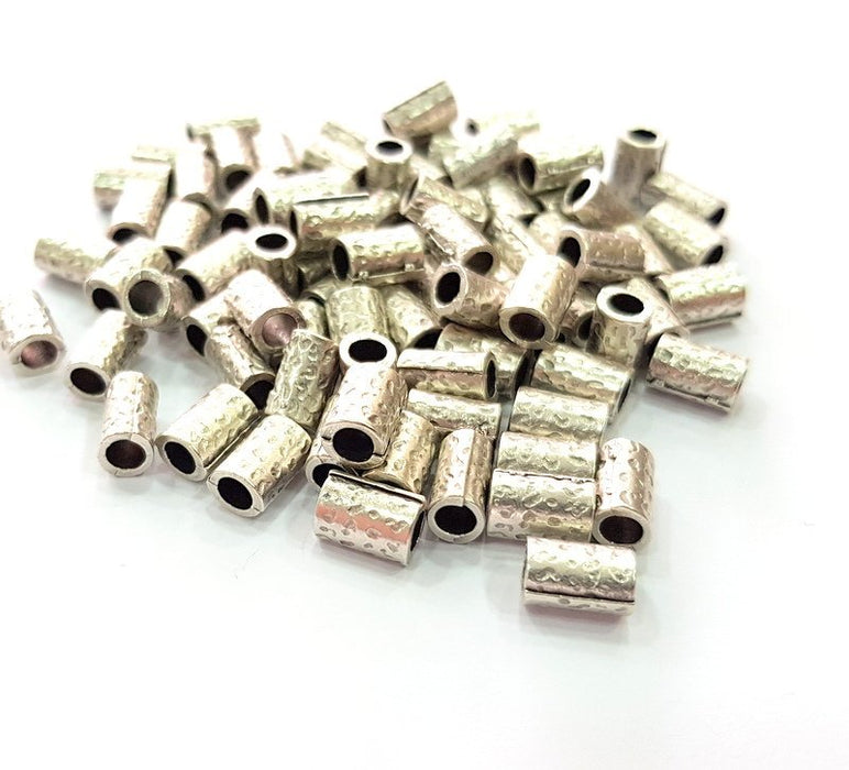 10 Silver Tube Beads Rondelle Beads Antique Silver Plated Beads 9x6mm  G14136