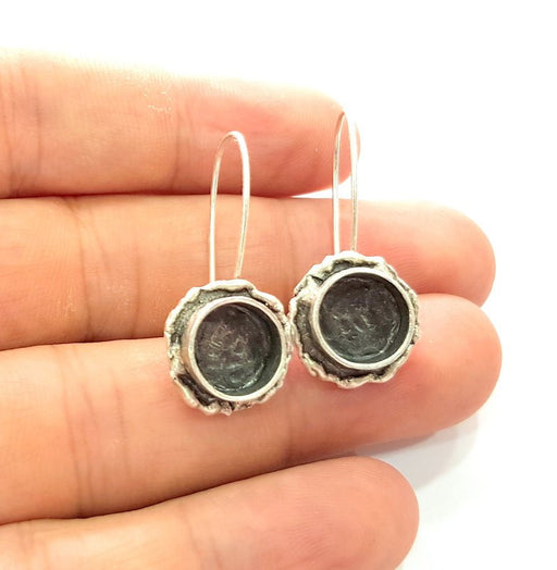 Earring Blank Base Settings Silver Resin Blank Cabochon Base inlay Blank Mountings Antique Silver Plated Brass (10mm blank) 1 Set  G14419