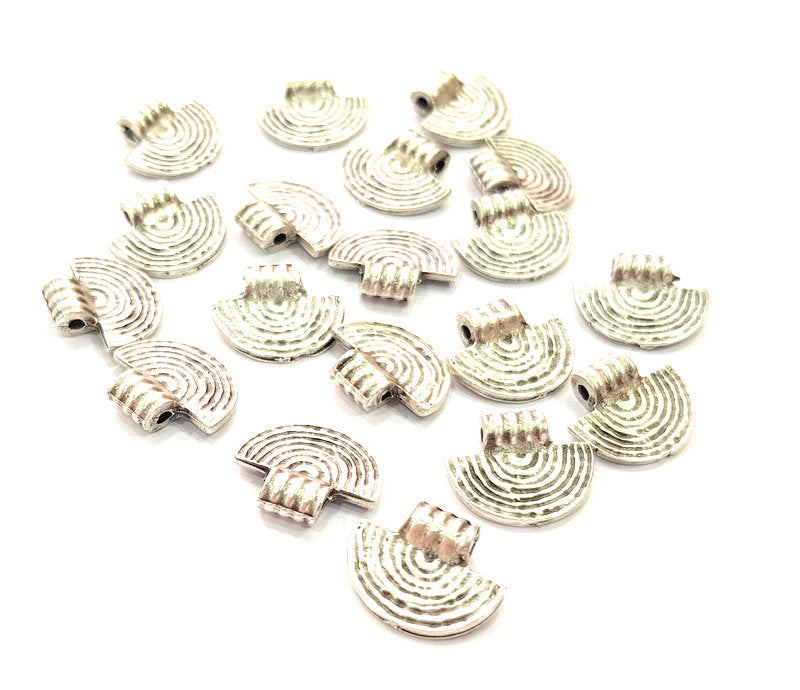 10 Fan Charms Semi Circle Charm Silver Charms Antique Silver Plated Metal (14x12mm) G14129