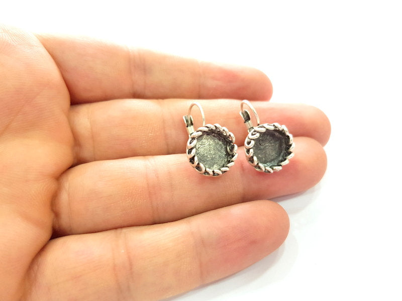Earring Blank Base Settings Silver Resin Blank Cabochon Base inlay Blank Mountings Antique Silver Plated Brass (10mm blank) 1 Set  G14486