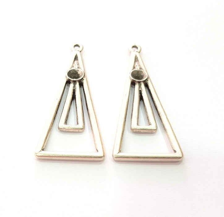G14192 43x17 mm 2 Silver Base Blank inlay Blank Earring Base Resin Blank Mosaic Mountings Antique Silver Plated Metal