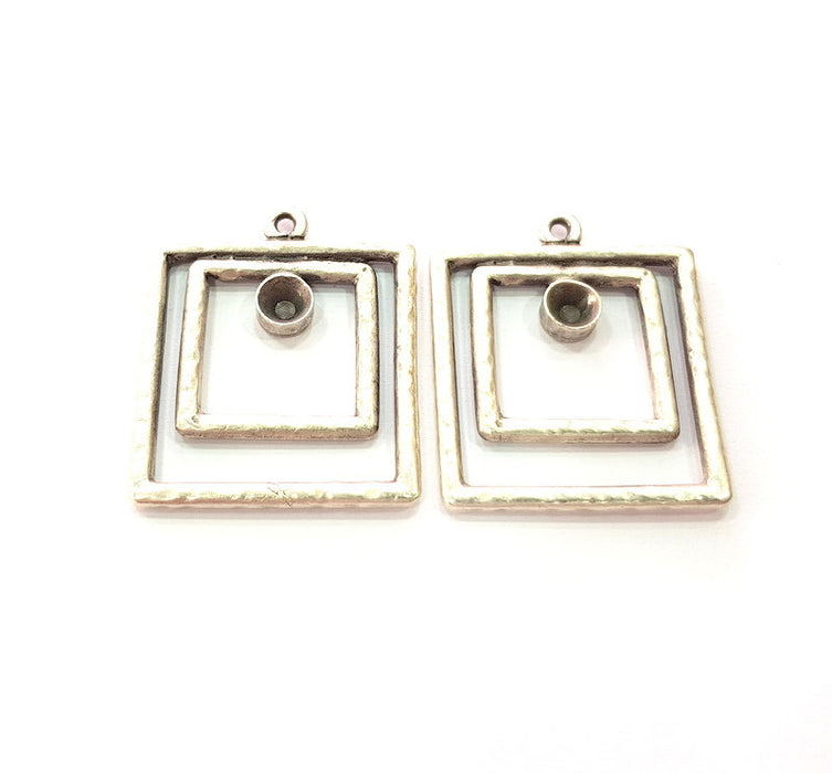 2 Silver Base Blank inlay Blank Earring Base Resin Blank Mosaic Mountings Antique Silver Plated Metal (32x27 mm)  G14194