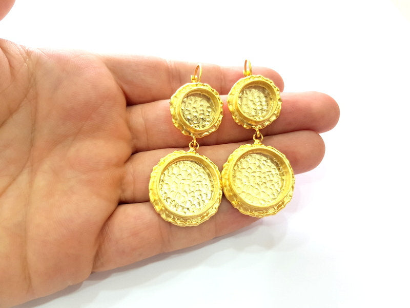 Earring Blank Base Settings Gold Resin Blank Cabochon Bases inlay Blank Mountings Gold Plated Brass (14+20mm blank) 1 Set  G14492