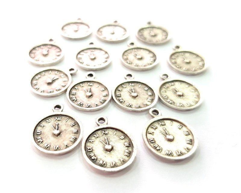 10 Clock Charm Silver Charms Antique Silver Plated Metal (16x12mm) G14231