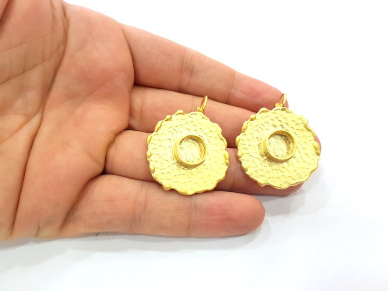 Earring Blank Base Settings Gold Resin Blank Cabochon Bases inlay Blank Mountings Gold Plated Brass (10mm blank) 1 Set  G14522