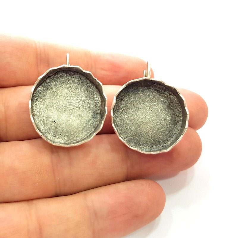 Earring Blank Base Settings Silver Resin Blank Cabochon Base inlay Blank Mountings Antique Silver Plated Brass (25mm blank) 1 Set  G14540