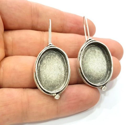 Earring Blank Base Settings Silver Resin Blank Cabochon Base inlay Blank Mountings Antique Silver Plated Brass (25x18mm blank) 1 Set  G16605