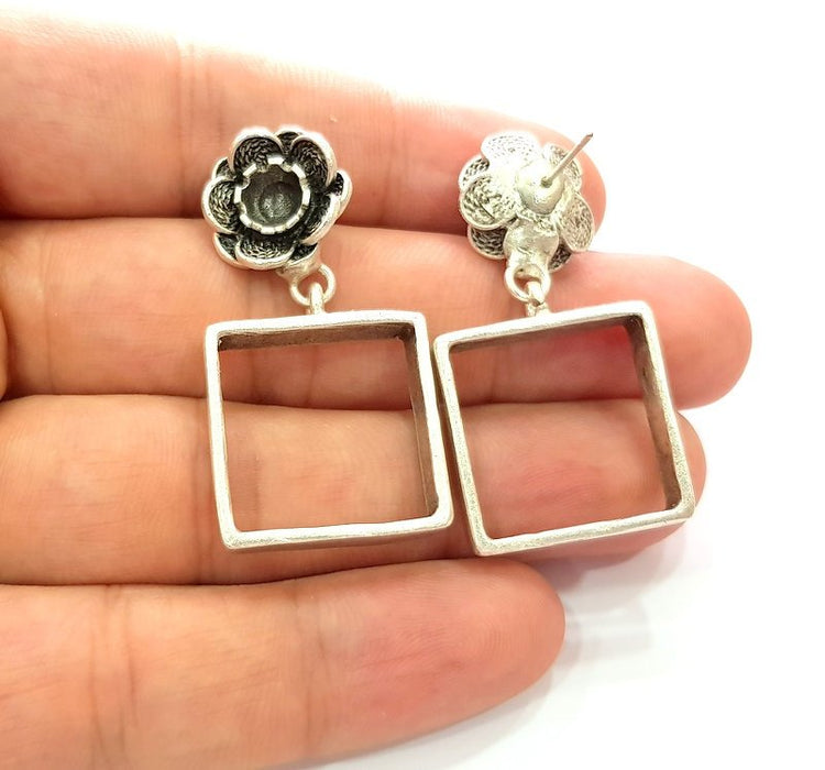 Earring Blank Base Settings Silver Resin Blank Cabochon Base inlay Blank Mountings Antique Silver Plated Brass (6mm blank) 1 Set  G14276