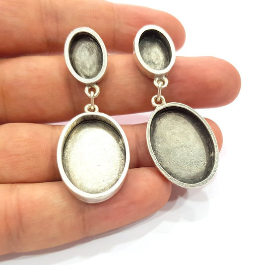 Earring Blank Base Settings Silver Resin Blank Cabochon Base inlay Blank Mountings Antique Silver Plated Metal (14x10+25x18mm) 1 Set  G14664