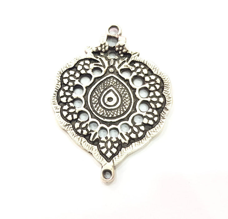 Silver Medallion Pendant Antique Silver Plated Metal (65x45mm) G14938