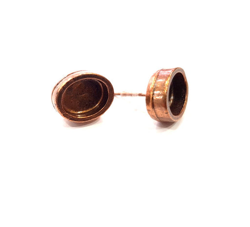 Earring Blank Base Settings Copper Resin Blank Cabochon Base inlay Blank Mountings Antique Copper Plated Brass (10x8mm blank) 1 Set  G15029