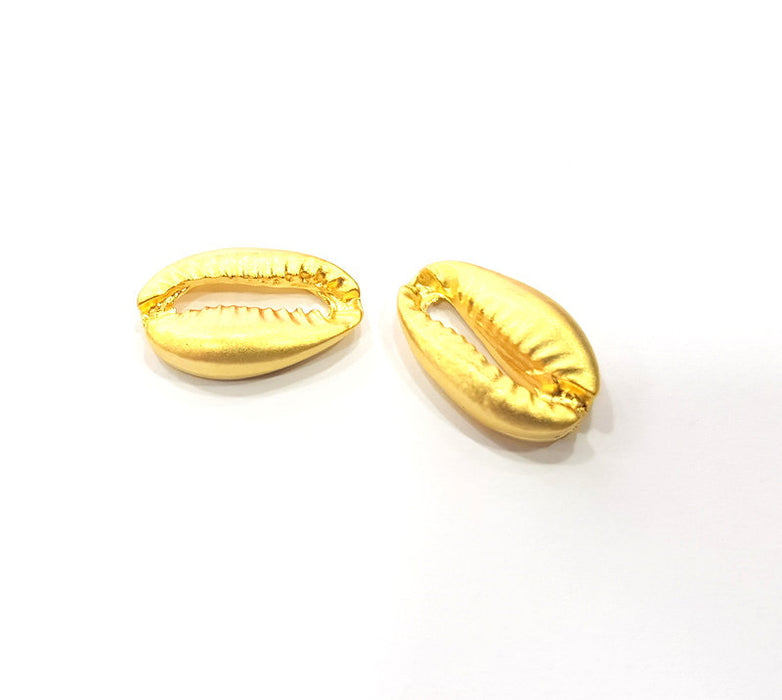 2 Cowrie Shell Charms Gold Charms Gold Plated Shell Charms (19x12mm)  G15112