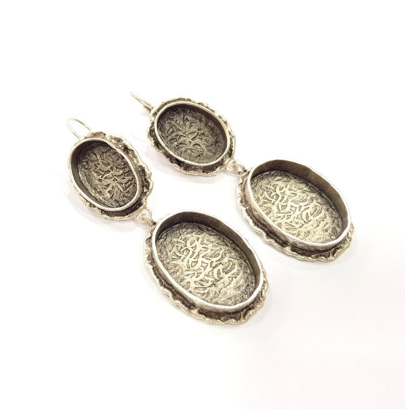 Earring Blank Base Settings Silver Resin Cabochon Base inlay Blank Mountings Antique Silver Plated Brass (25x18+18x13mm blank) 1 pair G15267