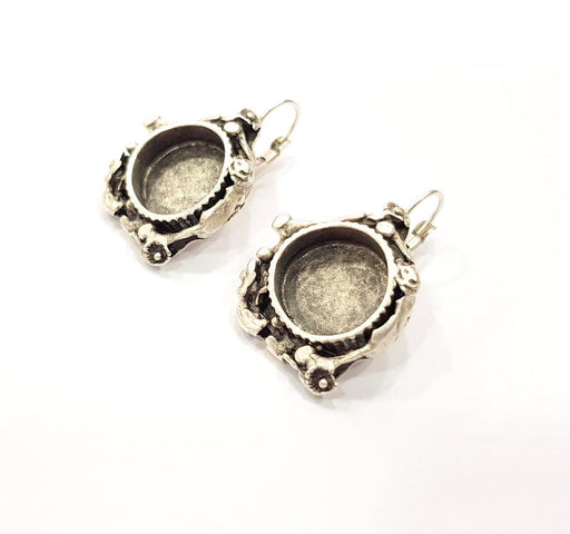 Earring Blank Base Settings Silver Resin Cabochon Base inlay Blank Mountings Antique Silver Plated Brass (15mm blank) 1 pair G15360