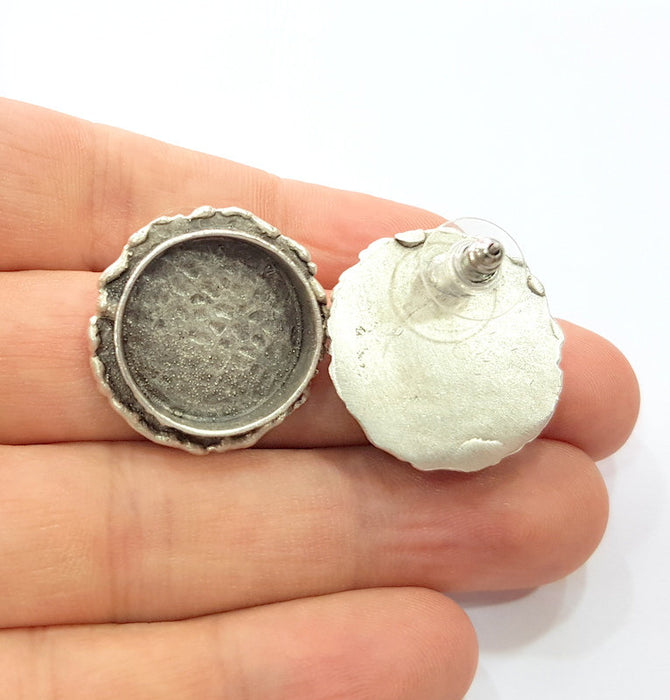 Earring Blank Base Settings Silver Resin Cabochon Base inlay Blank Mountings Antique Silver Plated Brass (20mm blank) 1 pair G15272