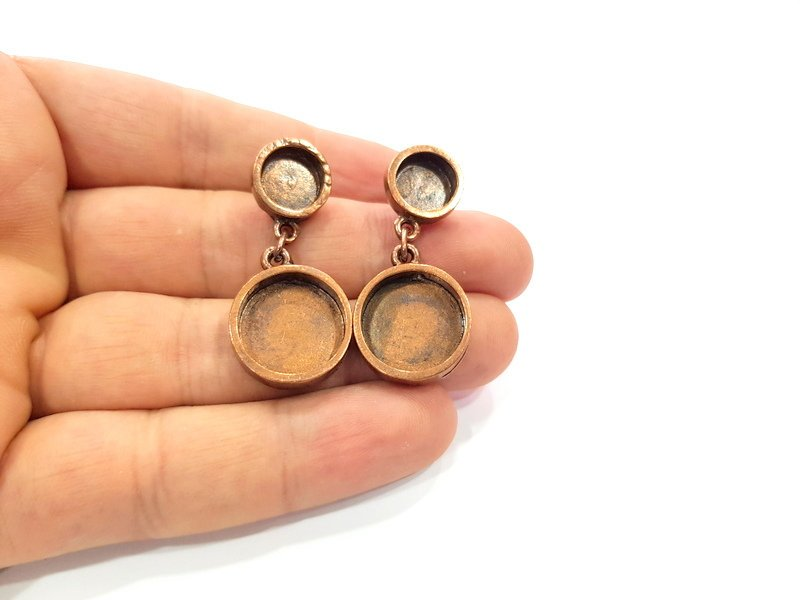 Earring Blank Base Settings Copper Resin Blank Cabochon Base inlay Mountings Antique Copper Plated Brass (16+10mm blank) 1 Set  G15292