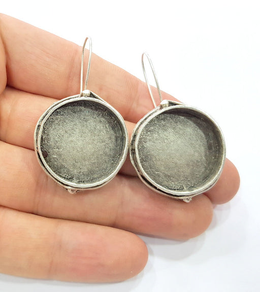 Earring Blank Base Settings Silver Resin Cabochon Base inlay Blank Mountings Antique Silver Plated Brass (24mm  blank) 1 pair G15324