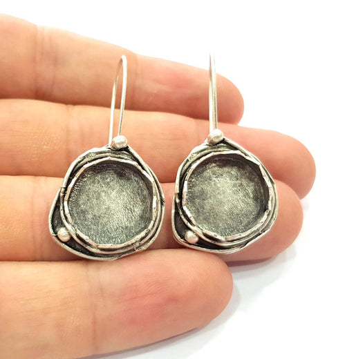 Earring Blank Base Settings Silver Resin Blank Cabochon Base inlay Blank Mountings Antique Silver Plated Brass (15mm blank) 1 Set  G14502