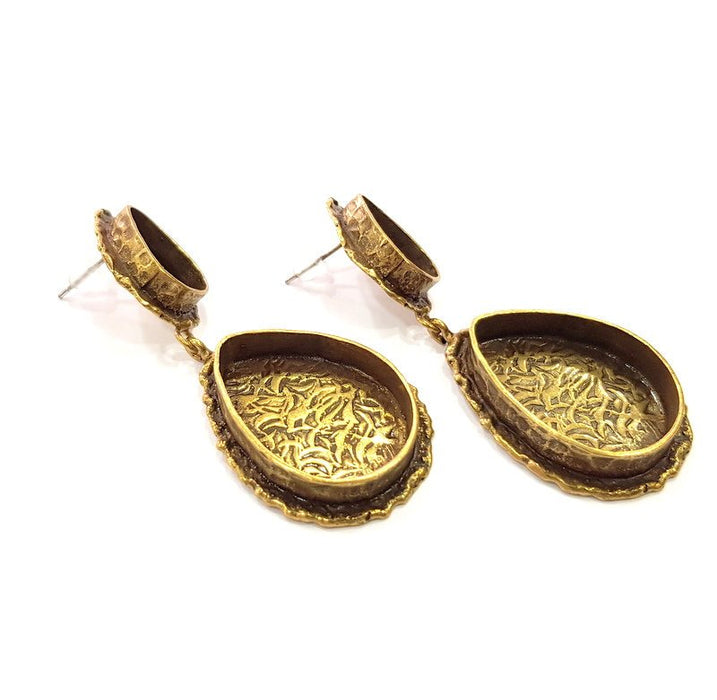 Earring Blank Backs Antique Bronze Resin Base inlay Cabochon Mountings Antique Bronze Plated Brass (25x18+14x10mm blank)  1 pair G15441