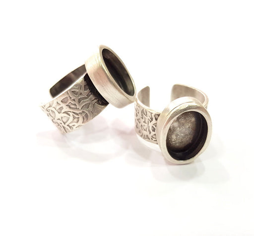 Oxidized Silver Plated Brass G6775 Silver Ring Blank Ring Settings Ring Bezel Base Cabochon Mountings Adjustable for 2mm stone tiny blanks
