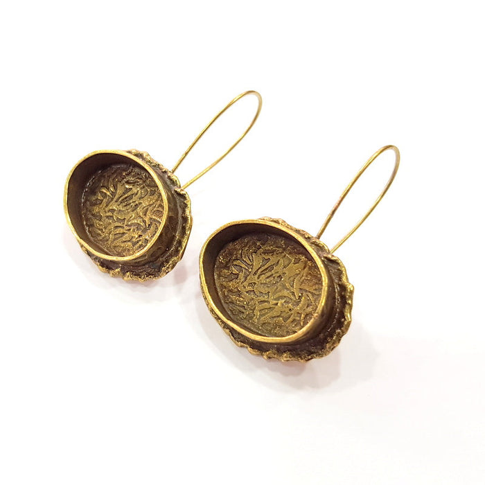 Earring Blank Backs Antique Bronze Resin Base inlay Cabochon Mountings Setting Antique Bronze Plated Brass (20x15mm blank) 1 pair G15458
