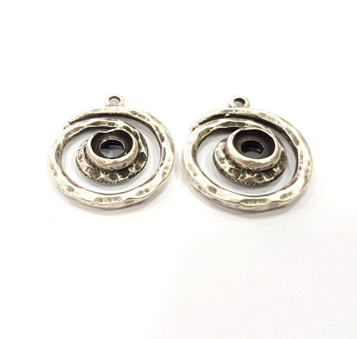 2 Spiral Charms Blank Base Blank Mountings Cabochon Blank Antique Silver Plated Metal (23mm)  G15519