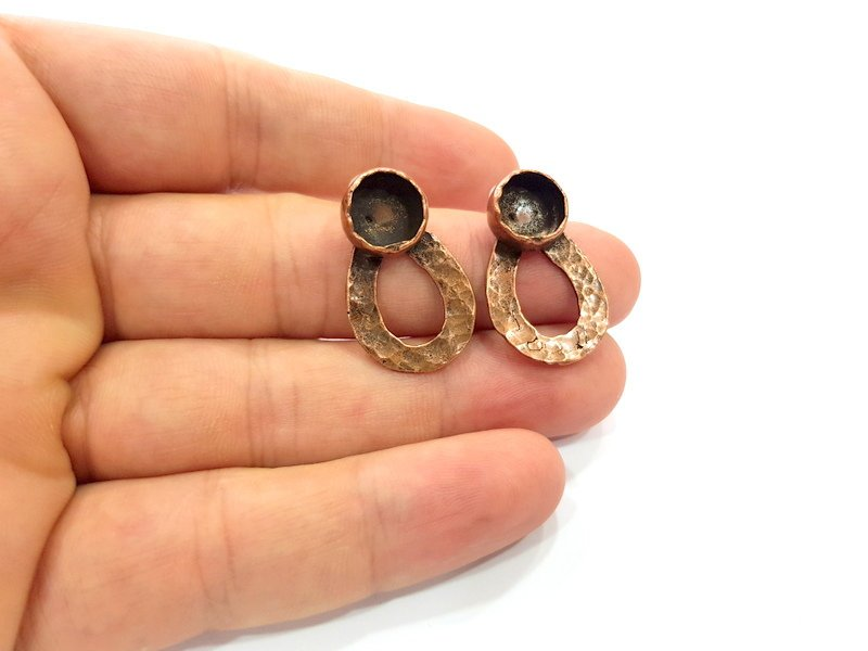 Earring Blank Base Settings Copper Resin Blank Cabochon Base inlay Blank Mountings Antique Copper Plated Brass (10mm blank) 1 Set  G14628