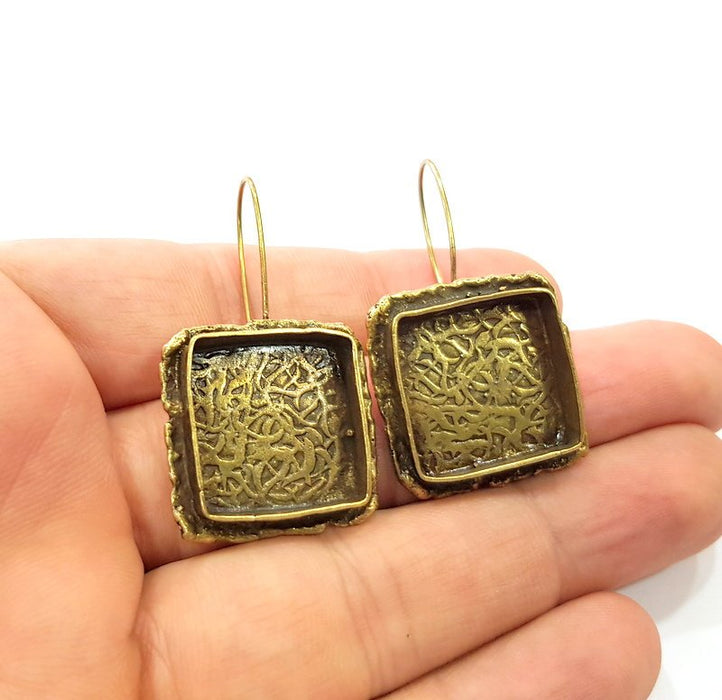 Earring Blank Backs Antique Bronze Resin Base inlay Cabochon Mountings Setting Antique Bronze Plated Brass (18mm blank) 1 pair G15544