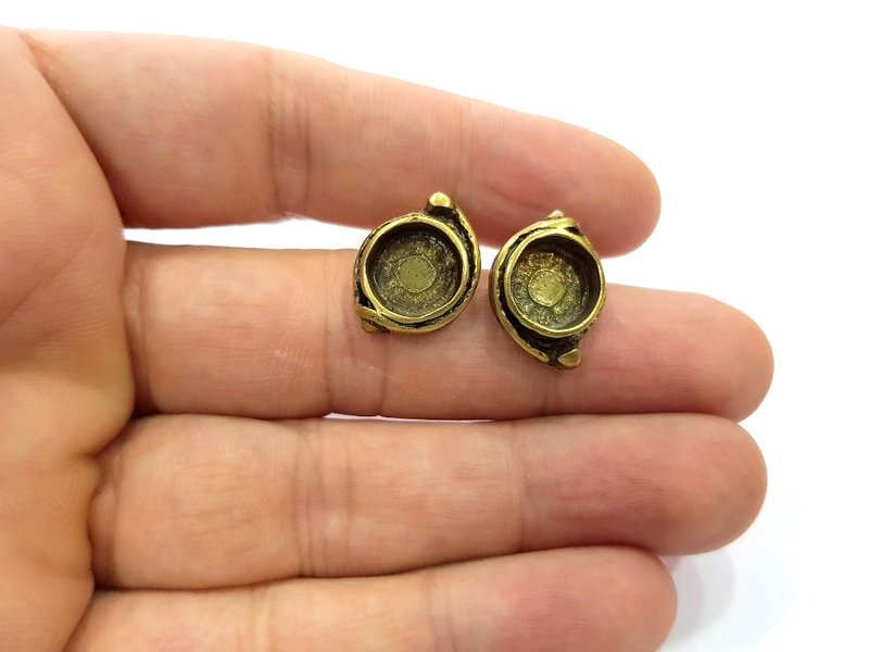 Earring Blank Backs Antique Bronze Resin Base inlay Cabochon Mountings Setting Antique Bronze Plated Brass (10mm blank) 1 pair G15570