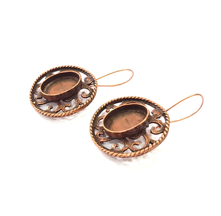 Earring Blank Base Settings Copper Resin Blank Cabochon Base inlay Blank Mountings Antique Copper Plated Brass (18x13mm blank) 1 Set  G14634