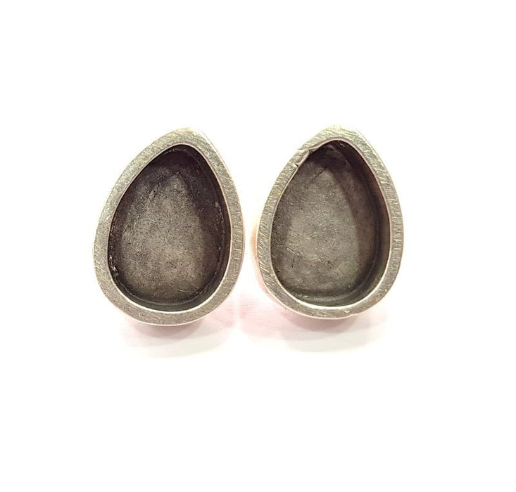 Earring Blank Base Settings Silver Resin Blank Cabochon Base inlay Blank Mountings Antique Silver Plated Metal (14x10mm blank) 1 Set  G14647