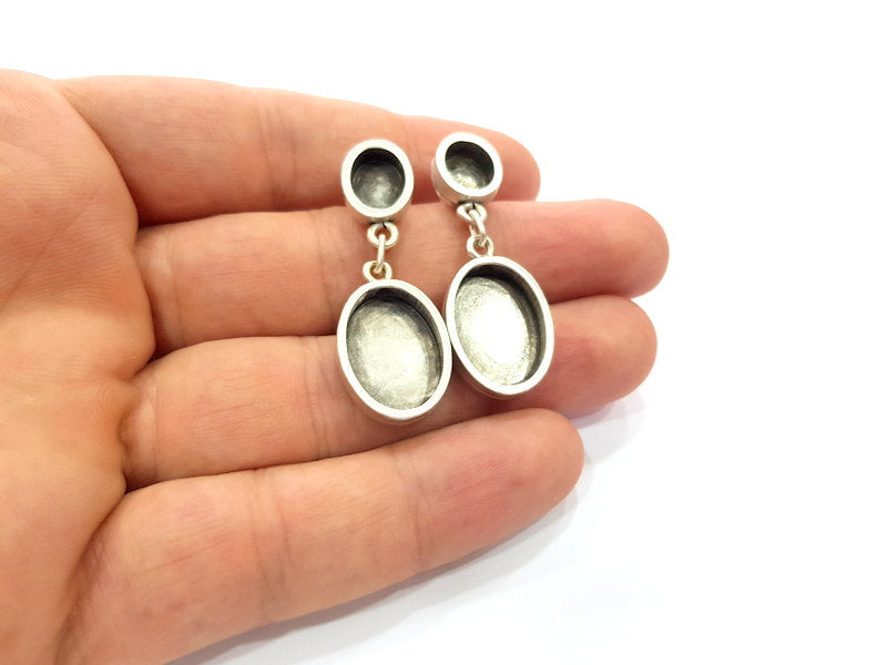 Earring Blank Base Settings Silver Resin Blank Cabochon Base inlay Blank Mountings Antique Silver Plated Metal (10x8+13x18mm ) 1 Set  G14648