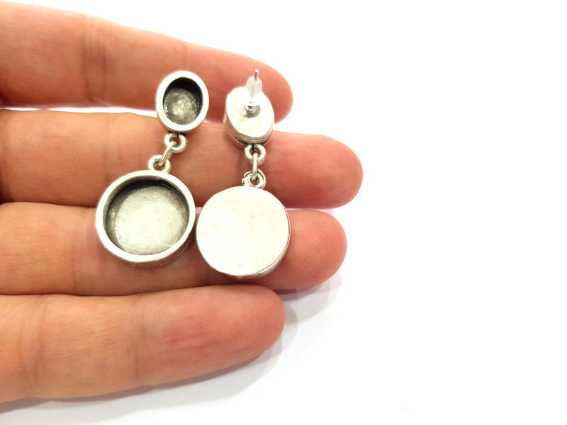 Earring Blank Base Settings Silver Resin Blank Cabochon Base inlay Blank Mountings Antique Silver Plated Metal (10x8+18mm ) 1 Pair G15612