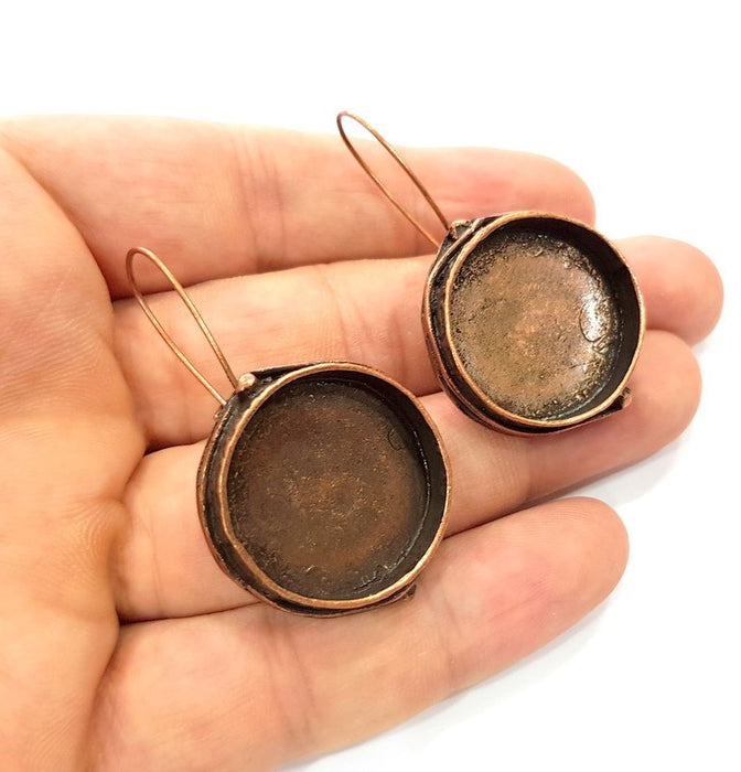 Earring Blank Base Settings Copper Resin Blank Cabochon Base inlay Blank Mountings Antique Copper Plated Brass (24mm blank) 1 Set  G14774