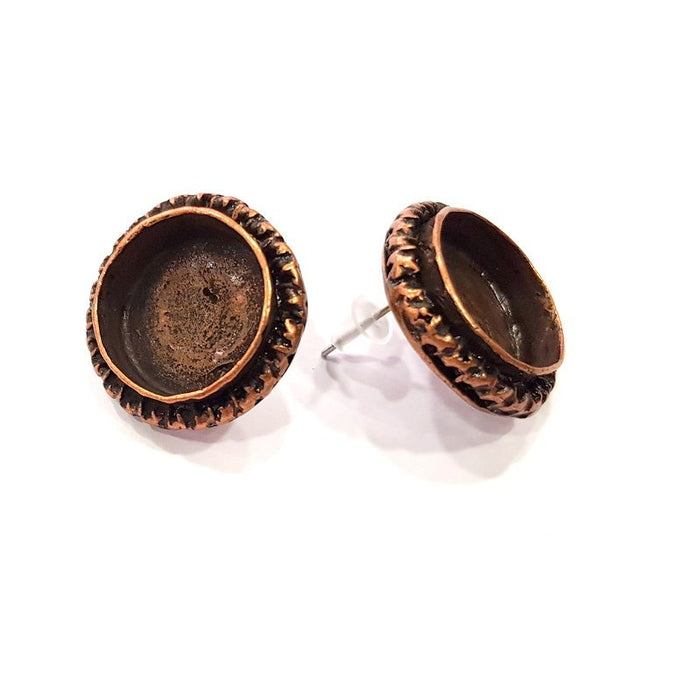 Earring Blank Base Settings Copper Resin Blank Cabochon Base inlay Blank Mountings Antique Copper Plated Brass (16mm blank) 1 Set  G14809