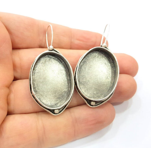 Earring Blank Base Settings Silver Resin Cabochon Base inlay Blank Mountings Antique Silver Plated Brass (30x22mm blank) 1 pair G17054