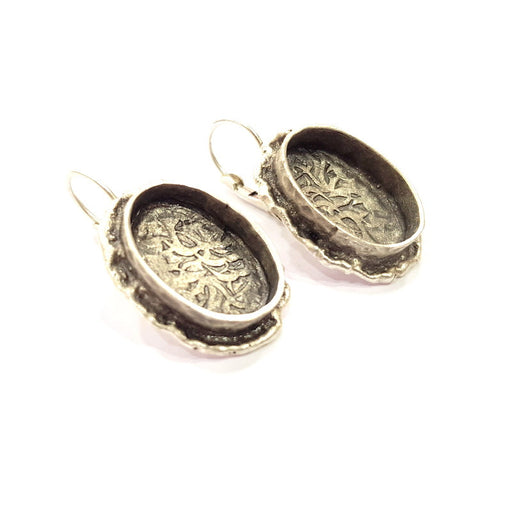 Earring Blank Base Settings Silver Resin Cabochon Base inlay Blank Mountings Antique Silver Plated Brass (18x13mm blank) 1 pair G15278
