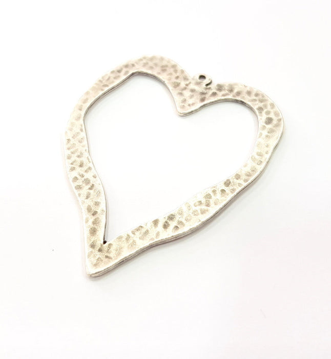 Hammered Heart Pendant Silver Pendant Antique Silver Plated Metal (60x47mm) G15347