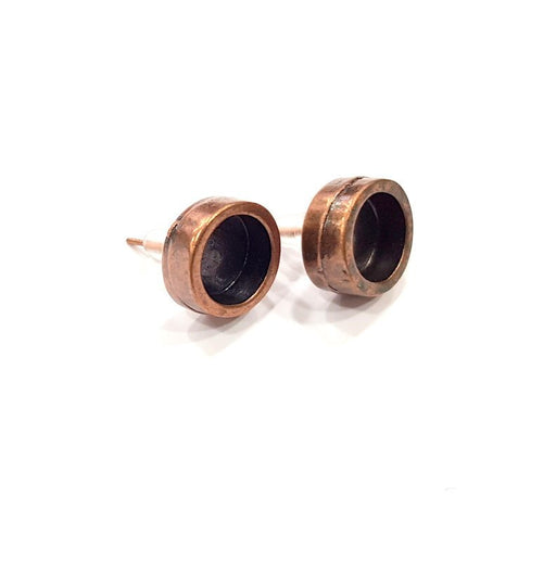 Earring Blank Backs Base Settings Copper Resin Blank Cabochon Base inlay Mountings Antique Copper Plated Brass (8mm blank) 1 Pair G15945