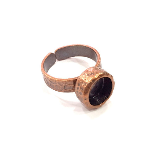 Copper Ring Blank Setting Cabochon Base inlay Ring Backs Mounting Adjustable Ring Base Bezel (8mm blank) Antique Copper Plated G16279