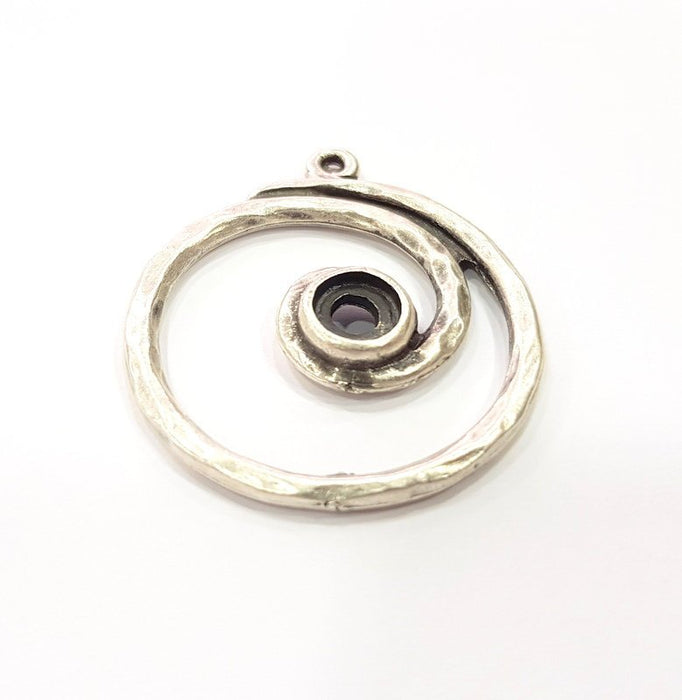 2 Silver Pendant Blank Base Blank Mountings Cabochon Blank Antique Silver Plated Metal (36mm)  G15510