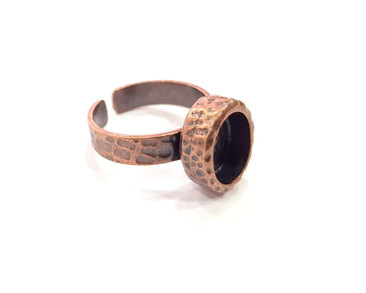 Copper Ring Blank Setting Cabochon Base inlay Ring Backs Mounting Adjustable Ring Base Bezel (10x8mm blank) Antique Copper Plated G16338