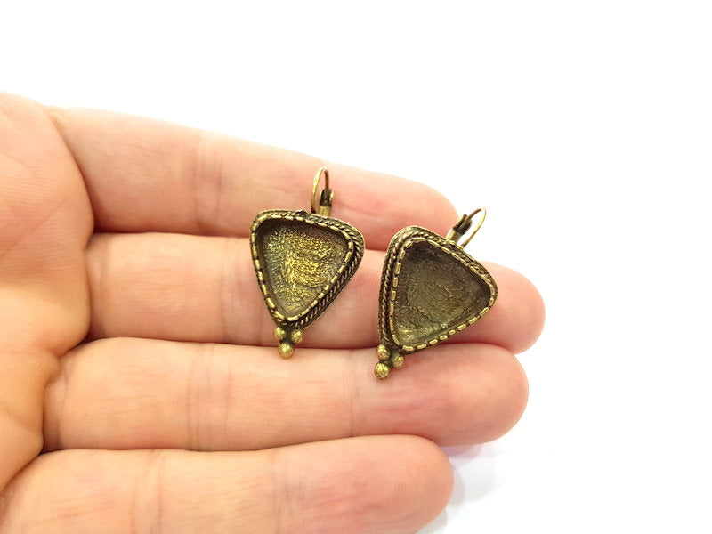 Earring Blank Backs Antique Bronze Resin Base inlay Cabochon Mountings Setting Antique Bronze Plated Brass (15mm blank) 1 pair G15546