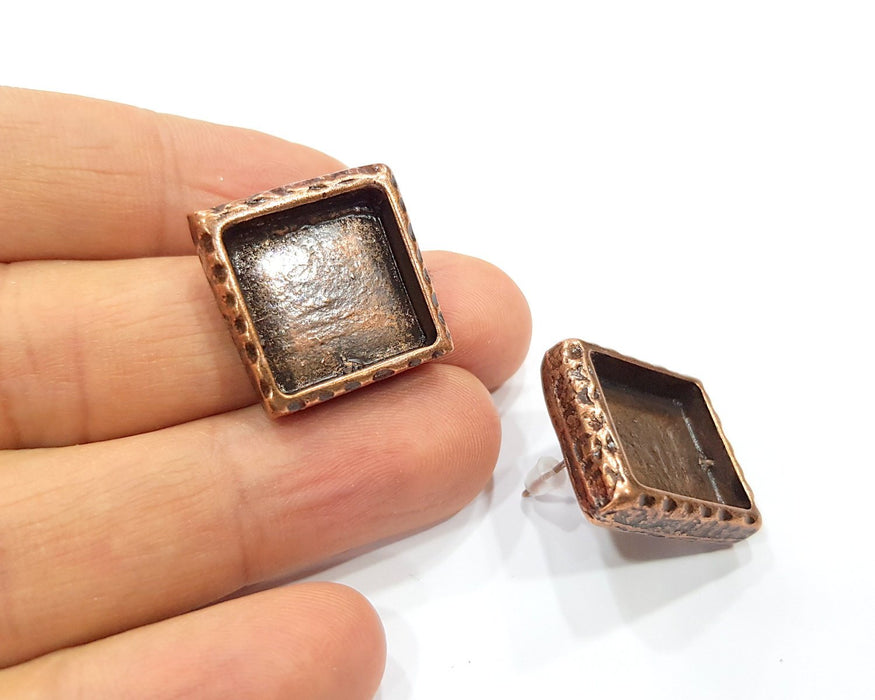 Square Earring Blank Backs Base Copper Resin Blank Cabochon Base inlay Mountings Antique Copper Plated (16x16mm) 1 Pair G16420