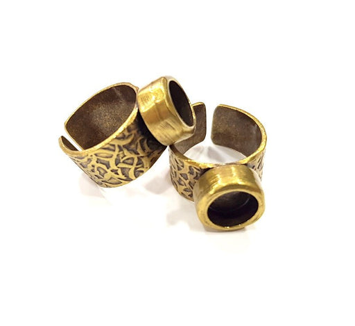 Antique Bronze Ring Blank Setting Cabochon Base inlay Ring Backs Mounting Adjustable Ring Bezel (8mm blank) Antique Bronze Plated G15637